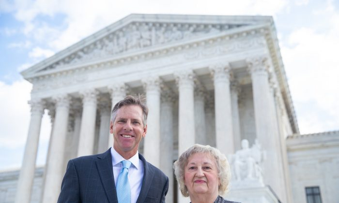 David Breemer (L) of the Pacific Legal Foundation and Rose Mary Knick on the steps of the Supreme Court building in Washington on Oct. 3, 2018. (Pacific Legal Foundation)