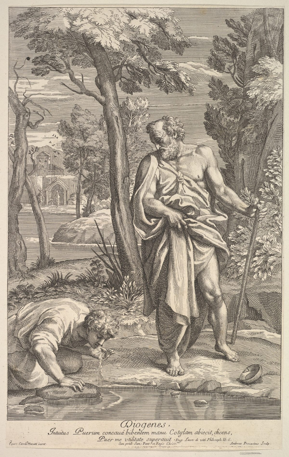 Man in robes Diogenes and man by river