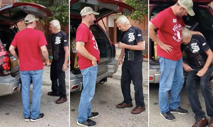 Homeless army veteran Walter Stoller taking a seat to catch his breath after receiving a very special gift from Navy vet Ryan Jacobsen. (Facebook Video Screenshot | TLS Veterans)