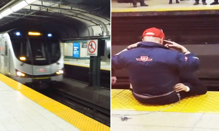 """John Paul Attard, a Toronto Transit Commission (TTC) employee, helps save 23-year-old man from a suicide attempt by asking him to repeat, """"I am strong,"""" at Dundas station. (YouTube Screenshot 