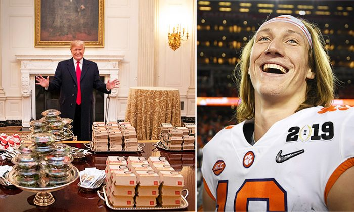 President Trump (L), and Trevor Lawrence (R) (L: Twitter/The White House, R: Getty Images/Harry How)