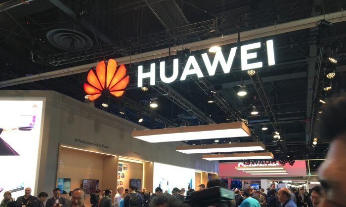 The Huawei booth is seen during CES 2019 consumer electronics show at the Las Vegas Convention Center in Las Vegas, Nevada, U.S.  on Jan. 10, 2019. (Robert LEVER/AFP/Getty Images)