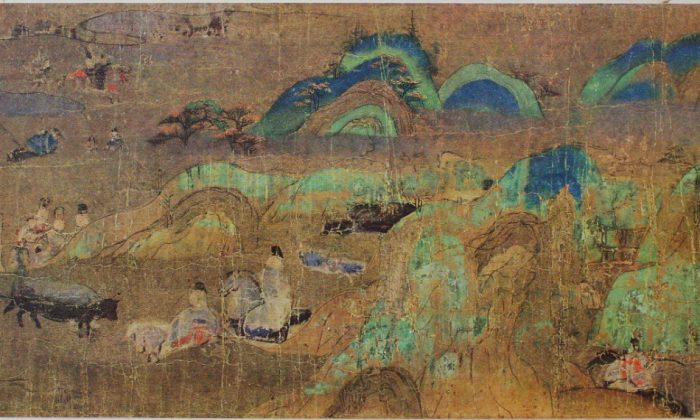 """""""Sekiya"""" (""""At the Pass""""), Ch. 16 of """"The Tale of Genji,"""" circa 1130 A.D., by an artist of the imperial court of Kyoto. An illustrated handscroll. Tokugawa Art Museum. (Public Domain)"""