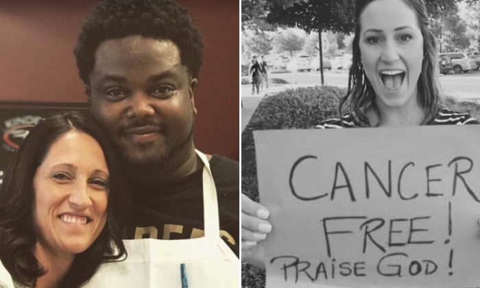 """Joslyn Fenyes and her """"angel,"""" Byron, who prayed for her sister (right), Erica Turner, who was undergoing chemo treatments. (L: Facebook 
