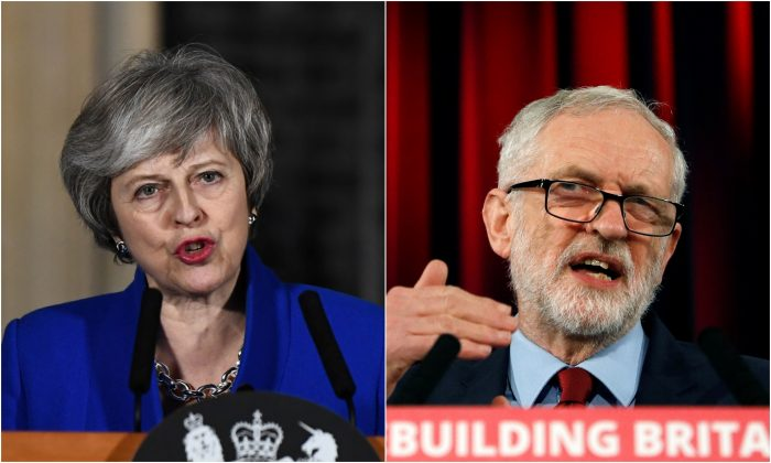 (L) Britain's Prime Minister Theresa May outside 10 Downing Street in London, on Jan. 16, 2019. (R) Jeremy Corbyn, leader of the Labour Party, speaks in Hastings, United Kingdom, on Jan. 17, 2019. (Reuters/Clodagh Kilcoyne/Peter Nicholls)
