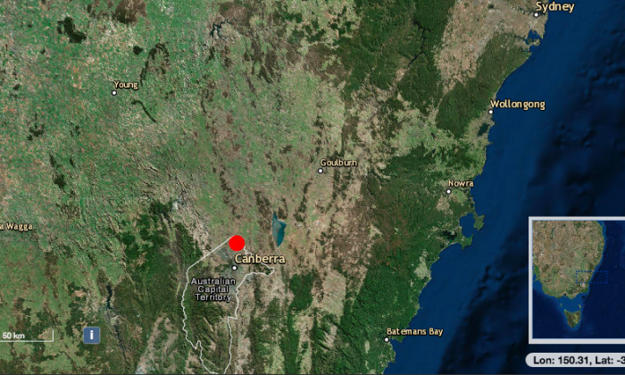 A 3.1 magnitude earthquake hit near Canberra, Australia, at 10:05 a.m. local time on Jan. 18, 2019. (earthquakes.ga.gov.au)