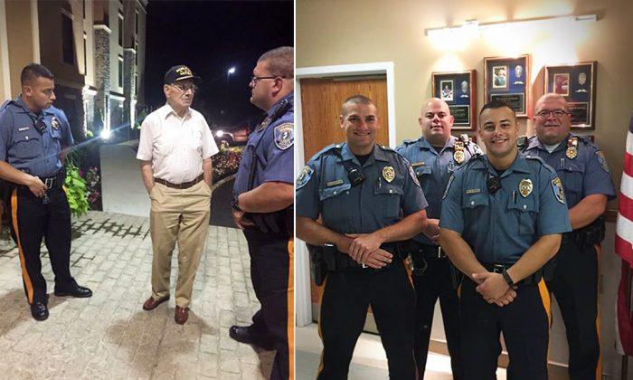 Officers pose next to WII vet Oscar Ehrhart Hampton Inn (Facebook | Alicia Vitarelli)