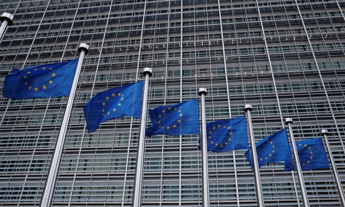 European Union flags flutter outside the EU Commission headquarters in Brussels, Belgium on March 8, 2018. (Yves Herman/Reuters)