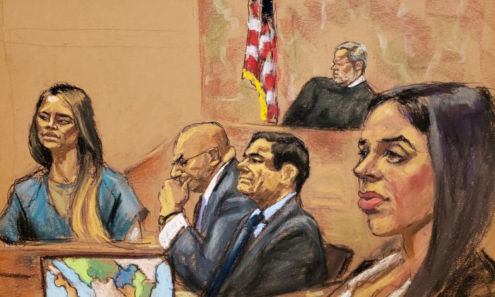 """Lucero Guadalupe Sanchez Lopez, a girlfriend of accused Mexican drug lord Joaquin """"El Chapo"""" Guzman (front, 2nd R) testifies as Guzman's wife Emma Coronel (R) looks on from the gallery, with Guzman's defense attorney Eduardo Balarezo (2nd L) listening, in this courtroom sketch in Brooklyn federal court, in New York City on Jan. 17, 2019. (Jane Rosenberg/Reuters)"""