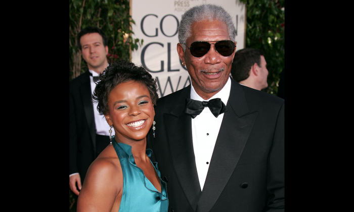 Actor Morgan Freeman and granddaughter E'Dena Hines arrive at the 62nd Annual Golden Globe Awards at the Beverly Hilton Hotel in Beverly Hills, Calif., on Jan. 16, 2005. (Kevin Winter/Getty Images)