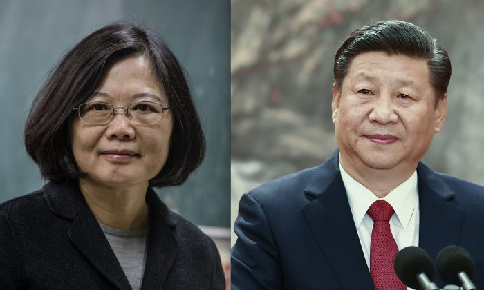Then-Democratic Progressive Party (DPP) presidential candidate Tsai Ing-wen (L) in Taipei, Taiwan on Jan. 16, 2016. (Ulet Ifansasti/Getty Images) China's paramount leader Xi Jinping in Beijing, China on Oct. 25, 2017. (Lintao Zhang/Getty Images)