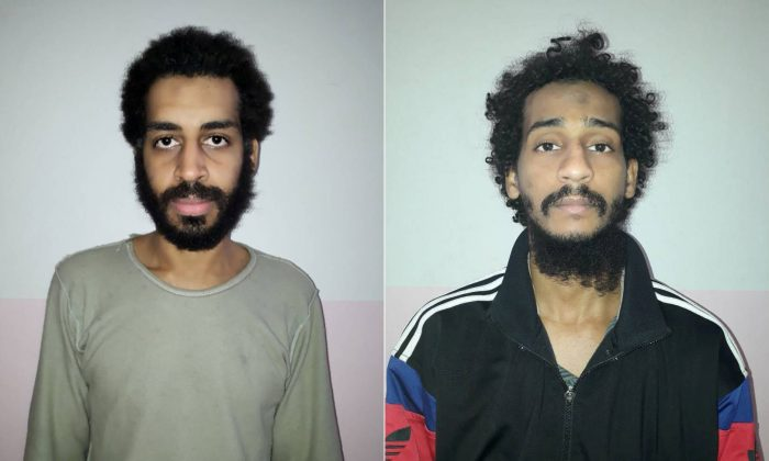 (L) Alexanda Kotey and (R) Shafee Elsheikh in Amouda, Syria, in photos released on Feb. 9, 2018. (Syrian Democratic Forces/Handout via Reuters/File Photo)