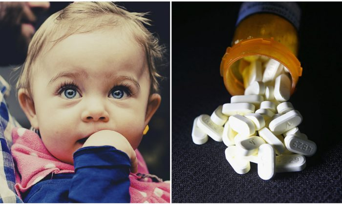 (L) Father holding his daughter. (Pixabay) (R) Oxycodone pain pills prescribed for a patient with chronic pain lie on display on March 23, 2016. (John Moore/Getty Images)