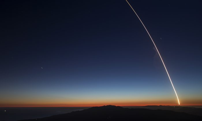 The SpaceX Falcon 9 rocket launches from Vandenberg Air Force Base.  (Photo by David McNew/Getty Images)