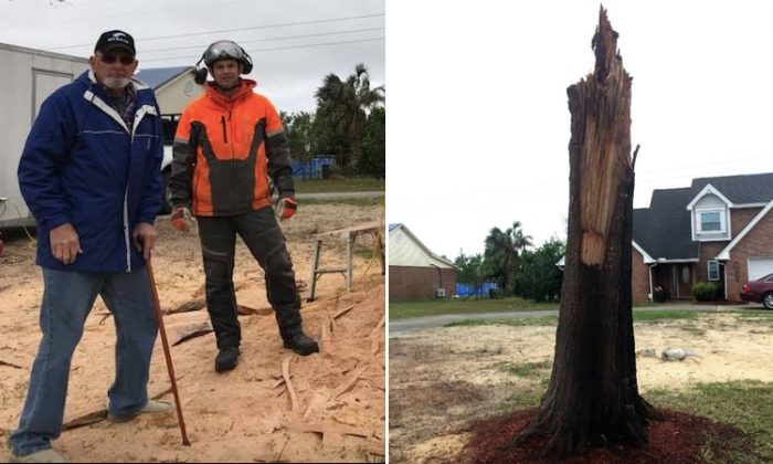 (Left) Vietnam veteran Sonny Brewer and Chad Gainey pose after finishing (right) a patriotic piece of artwork from a tree that was broken during a hurricane. (L: Facebook | WMBB-TV, R: Facebook | Chad Gainey Sculpture)