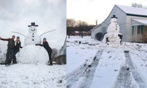 Man Tries to Vandalize a Giant Snowman, Learns the Best Lesson of His Life