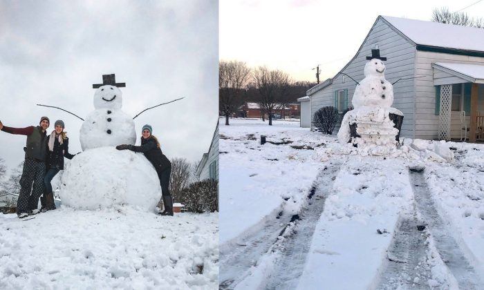 A giant snowman called Frosty has turned into an icon after it survived an attempt by a vandal on Jan 14, 2019. (Courtesy of Codylutzmedia.com)