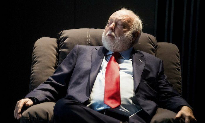 Government commissioner in charge of the development of Hungary's film industry, Andy Vajna, participates in a discussion in the headquarters of the Hungarian National Film Fund in Budapest. On Feb. 7, 2017. (Zoltan Balogh/MTI via AP)