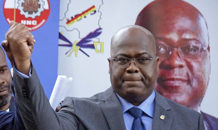 Felix Tshisekedi of Congo's Union for Democracy and Social Progress opposition party, at a press conference in Nairobi, Kenya, Congo's Constitutional Court, on Jan. 20, 2019. (Ben Curtis/AP)