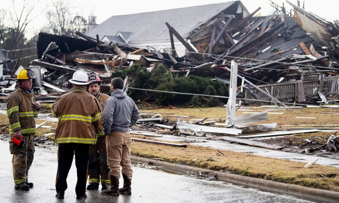 The remains of the damaged historic First Presbyterian Church in Wetumpka, Ala., is seen after a possible tornado on Jan. 19, 2019. (Mickey Welsh/The Montgomery Advertiser/AP)