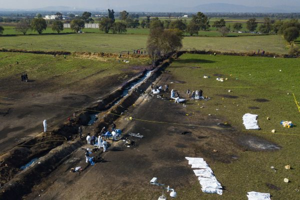 Aerial view of the area where a explosion in a pipeline belonging to Mexican oil company PEMEX on Jan. 18, 2019 in Tlahuelilpan, Mexico.