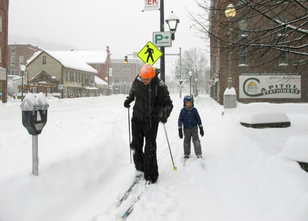 Nicholas Nicolet and his son Rocco cross-country ski