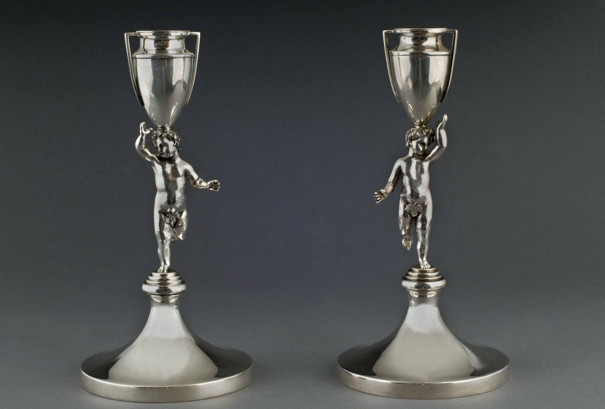Putti sterling silver candlesticks