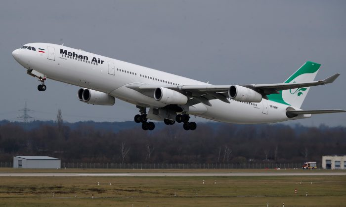 An Airbus A340-300 of Iranian airline Mahan Air takes off from Duesseldorf airport DUS, Germany, on Jan. 16, 2019. (REUTERS/Wolfgang Rattay