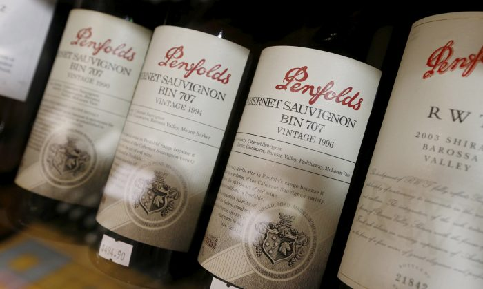 Bottles of Penfolds wines, one of the brands from the Treasury Wines group, are shown at a Sydney boutique wine store in Australia on Feb. 15, 2016. (Jason Reed/Reuters)