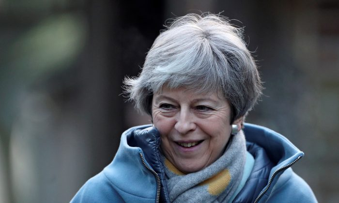 Britain's Prime Minister Theresa May leaves church, near High Wycombe, Britain, on Jan. 20, 2019. (Hannah McKay/Reuters)