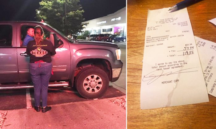 (Left) Justin Methia leaving the Texas Roadhouse in North Dartmouth, Massachusetts, when their waitress ran out to thank him for the (right) 100% tip he left so she could get a new pair of shoes. (Facebook | Jared Methia)
