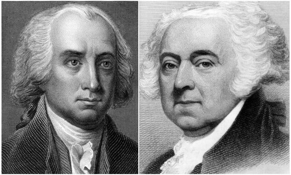 Portraits of of James Madison (R), and John Adams (L).