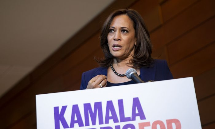 Sen. Kamala Harris (D-Calif.) speaks to reporters after announcing her candidacy for President of the United States, at Howard University, her alma mater, in Washington on Jan. 21, 2019. Harris is the first African-American woman to announce a run for the White House in 2020. (Al Drago/Getty Images)