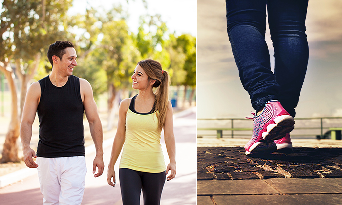 15 minutes walk daily have many health benefits (L) Antoniodiaz/Shutterstock; (R) Public domain