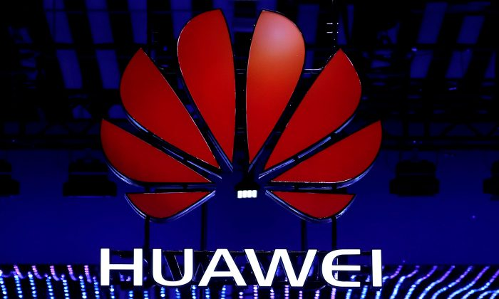 The Huawei logo is seen at the Mobile World Congress in Barcelona, Spain, on Feb. 26, 2018. (Reuters/Yves Herman)