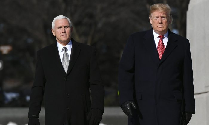 U.S. President Donald Trump (R) and Vice President Mike Pence, in Washington on Jan. 21, 2019. (Mandel Ngan/AFP/Getty Images)