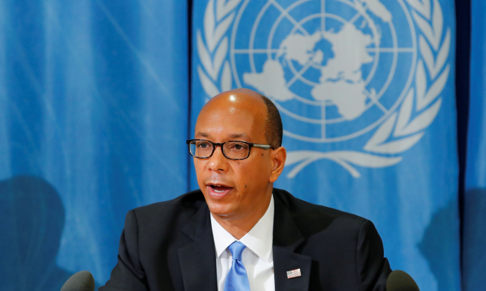 U.S. representative to the Conference on Disarmament Robert Wood at a news conference at the United Nations in Geneva, Switzerland, on April 19, 2018. (Denis Balibouse/Reuters)