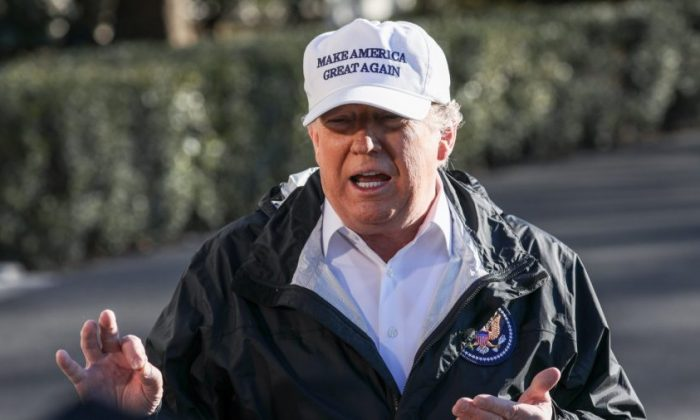 President Donald Trump speaks to media before departing the White House en route to the U.S.-Mexico border in McAllen, Texas, on Jan. 10, 2019. (Charlotte Cuthbertson/The Epoch Times)