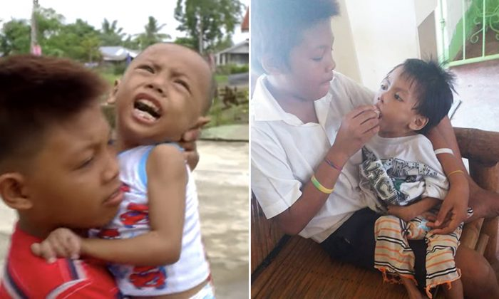 Alexis Peralta, 11, going through his daily routine, carrying 4-year-old disabled brother AJ with him to school and feeding him since there's no one else to do it. (L: YouTube Screenshot   GMA Public Affairs, R: Facebook   Cortes Santiago Phoebe)