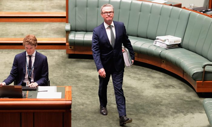 Defence Minister Christopher Pyne arrives at question time at Parliament House on Nov. 26, 2018, in Canberra, Australia. (Tracey Nearmy/Getty Images)