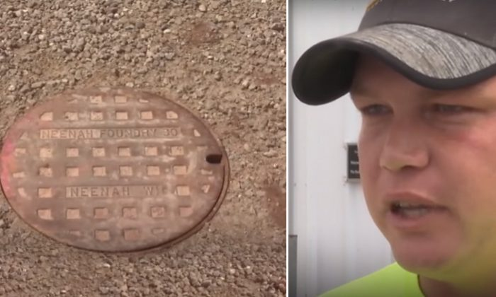 (Left) A sewer manhole cover that allowed (right) Deputy Fire Chief Wesley Pompa to rescue a trapped 11-year-old boy. (YouTube Screenshot | ABC Television Stations)