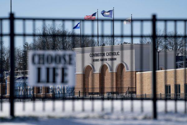Flags fly over the Covington Catholic High School stadium