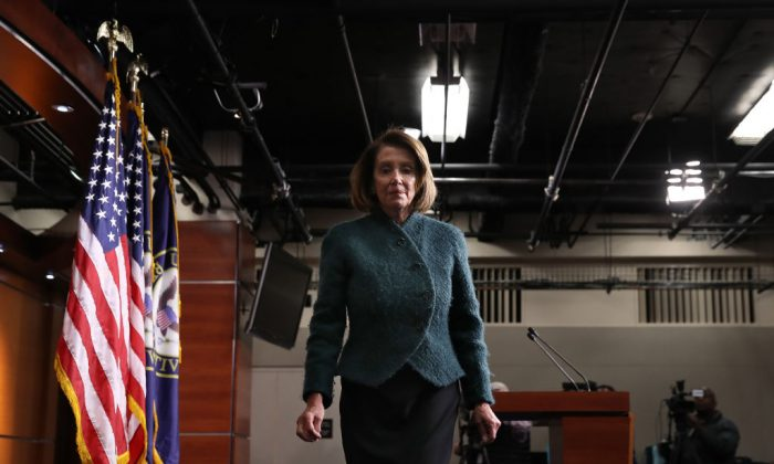 Speaker of the House Nancy Pelosi (D-CA) departs after answering questions during her weekly press conference in Washington, on Jan. 10, 2019. (Win McNamee/Getty Images)