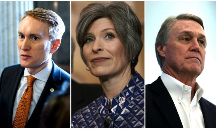 Sens. Joni Ernst (R-Iowa), James Lankford (R-Okla.), and David Perdue (R-Ga.). (Alex Wong/Zach Gibson/Getty Images)