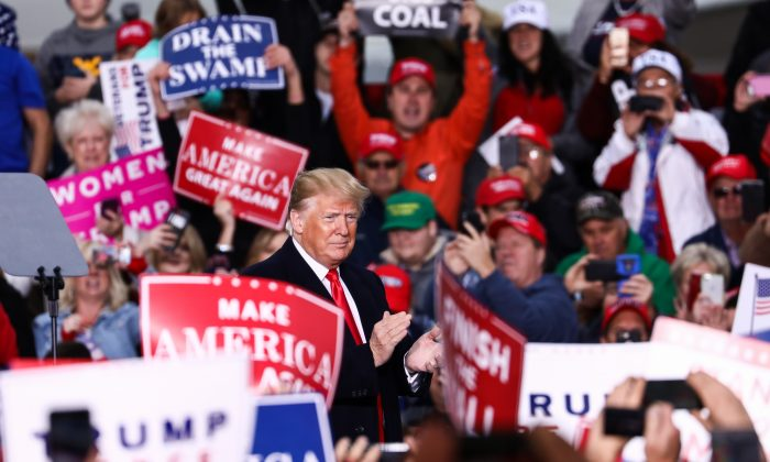 President Donald Trump at a Make America Great Again rally in Huntington, W.Va., on Nov. 2, 2018. (Charlotte Cuthbertson/The Epoch Times)