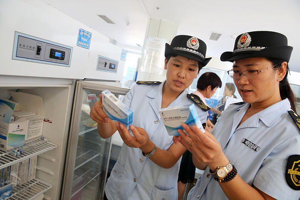 Food and Drug Administration officials check on vaccines for rabies at the Disease Control and Prevention Center in Huaibei in China's eastern Anhui province on July 24, 2018. (-/AFP/Getty Images)
