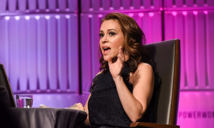 Alyssa Milano appears at an event in Los Angeles on Nov. 1, 2018. (Presley Ann/Getty Images)