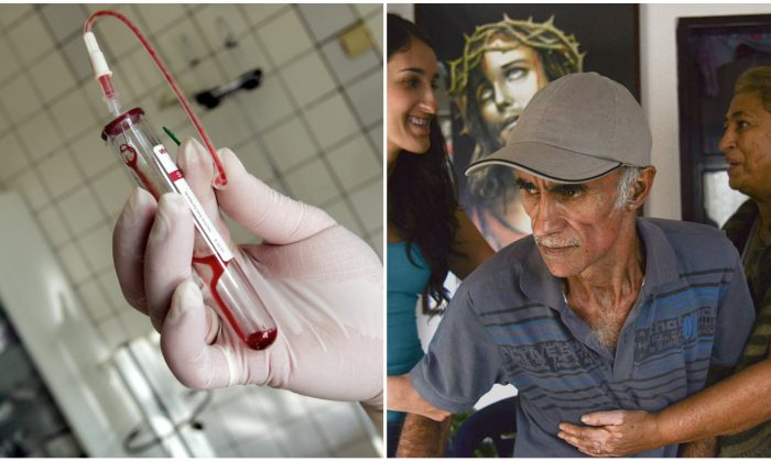 (L) A nurse holding a test-tube with HIV positive blood in an infectious diseases hospital in Moscow. (Maxim Marmur/AFP/Getty Images)