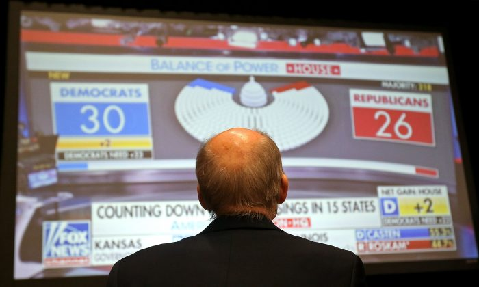 A Republican supporter watches midterm election returns on a big screen monitor during an election night event for Arizona GOP candidates in Scottsdale, Arizona, on Nov. 6, 2018.  (Ralph Freso/Getty Images)