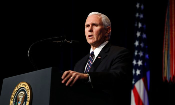 Vice President Mike Pence speaks during a Missile Defense Review announcement on Jan. 17, 2019 at the Pentagon, in Arlington, Virginia. (Martin H. Simon - Pool/Getty Images)